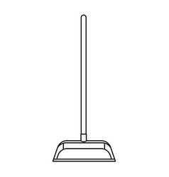 dustpan with wooden stick in monochrome silhouette vector image