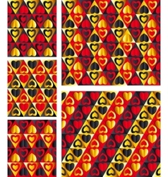Elegant Hearts Seamless patterns vector image vector image