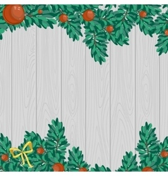 Green christmas decoration on gray wood background vector