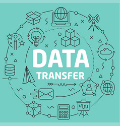 green line flat circle data transfer vector image vector image