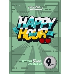 Happy hour concept poster template for advertising vector