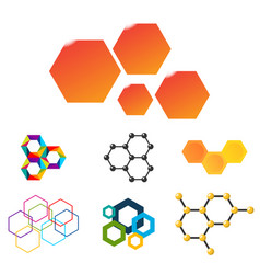 linear hexagon design elements different vector image vector image