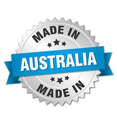Made in australia silver badge with blue ribbon vector