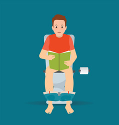 Man sitting on toilet bowl and reading a book vector