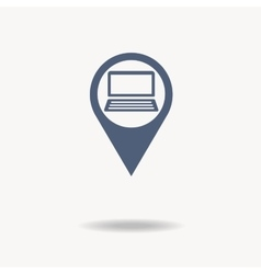 Map pointer flat icon with laptop icon inside vector image vector image