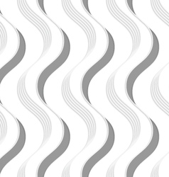 Paper cut out vertical gray waves vector