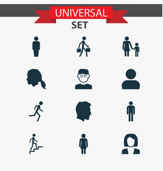 people icons set collection of gentleman ladder vector image vector image