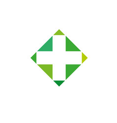 pharmacy logo medicine green cross abstract vector image