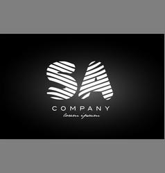 Sa s a letter alphabet logo black white icon vector