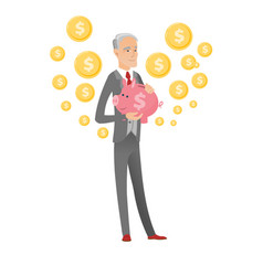 Senior caucasian businessman holding a piggy bank vector