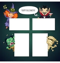 Set of cartoon halloween characters behind a white vector