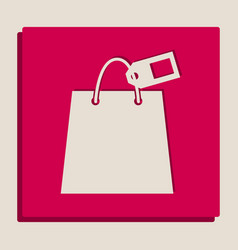Shopping bag sign with tag grayscale vector