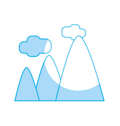 Silhouette mountains with clouds and natural vector