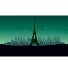Silhouette of eiffel tower with green backgrounds vector