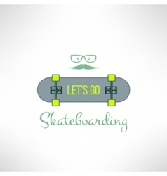 skateboard background with hipster glasses vector image