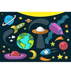 space cartoon vector image vector image