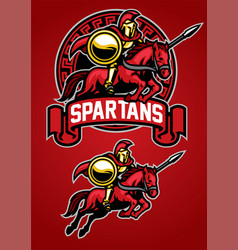 spartan warrior riding horse mascot vector image vector image