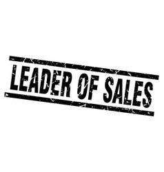 square grunge black leader of sales stamp vector image vector image
