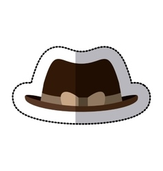 Sticker lace brown hat with bow retro design vector