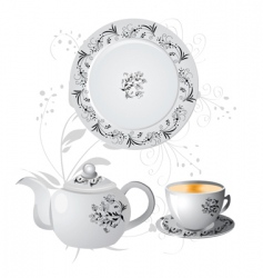 teapot and china vector image vector image