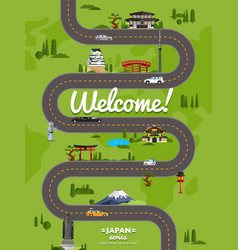 Welcome to japan poster with famous attractions vector