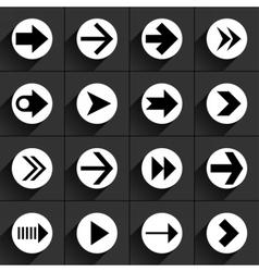 White arrow icon on black vector