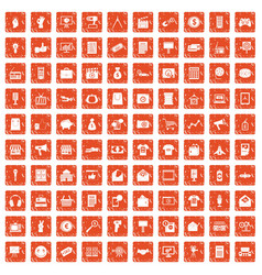 100 marketing icons set grunge orange vector