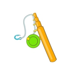 Fishing rod icon in cartoon style vector