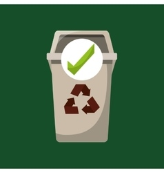 Recycled trash can ok icon vector
