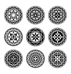 Floral ornament 9 tattoo set Flowers in star vector image
