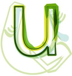 Green letter U vector image