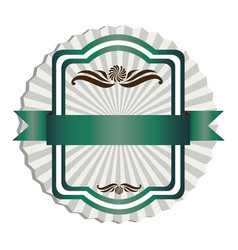 green emblem with ribbon decoration icon vector image