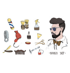 hand drawn barbershop set collection accessories vector image