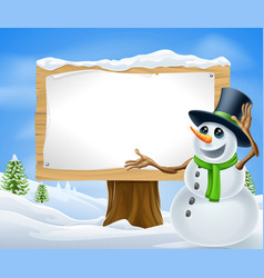 Christmas snowman sign vector