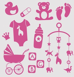 Baby girl toys icons vector