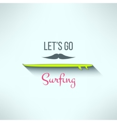 Surfing background with hipster mustache vector