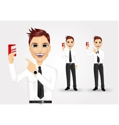 Businessman pointing to business card vector