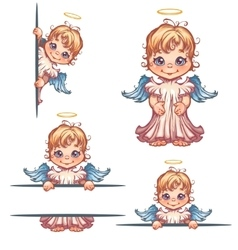 set of cute angel with panel for text vector image