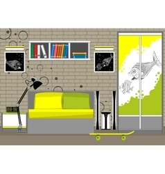 Living room interior loft vector