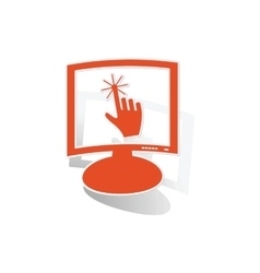 Touchscreen monitor sticker orange vector