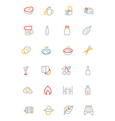 Food colored outline icons 11 vector
