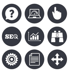 Internet seo icons analysis chart sign vector
