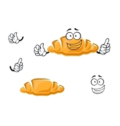 Cartoon isolated french croissant character vector