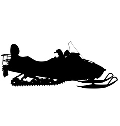 Silhouette snowmobile on white background vector