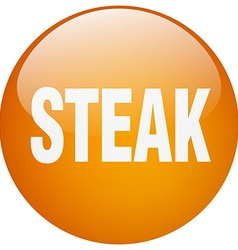 Steak orange round gel isolated push button vector