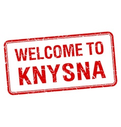 Welcome to knysna red grunge square stamp vector