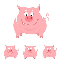 Funny cartoon pig vector