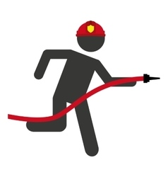 Hose firefighter man icon vector