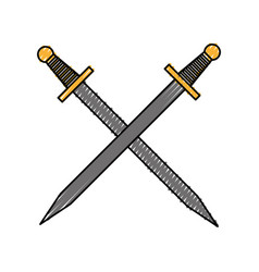 Artistic sword isolated icon vector