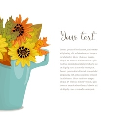 Autumn bouquet in cup with text vector image